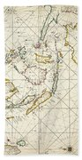 Map: East Indies, 1670 Bath Towel