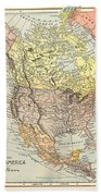 Map: North America, 1890 Bath Towel
