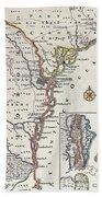 Map: North America, C1700 Bath Towel