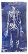 1911 Anatomical Skeleton Patent Blue Bath Towel