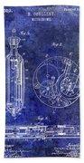 1913 Pocket Watch Patent Blue Bath Towel