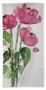 3 Pink Flowers Bath Towel