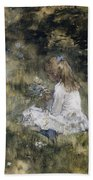 A Girl With Flowers On The Grass Bath Towel