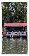 A Raft House Moored To The Shoreline Of Ada Medjica Islet Bath Towel