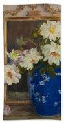 Abbott Graves 1859-1936 Flowers In A Blue Vase Bath Towel