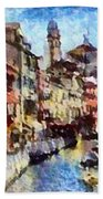 Abstract Canal Scene In Venice L A S Bath Towel