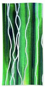 Abstract Lines On Green Hand Towel