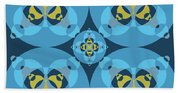 Abstract Mandala Cyan, Dark Blue And Yellow Pattern For Home Decoration Bath Towel