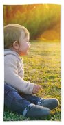 Adorable Baby Playing Outdoors Bath Towel