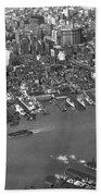 Aerial View Of Lower Manhattan Bath Towel