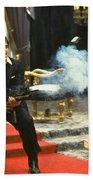 Al Pacino As Tony Montana With Machine Gun Blasting His Fellow Bad Guys Scarface 1983 Bath Towel
