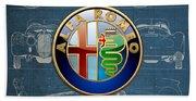 Alfa Romeo 3 D Badge Over 1938 Alfa Romeo 8 C 2900 B Vintage Blueprint Bath Towel