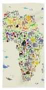 Animal Map Of Africa For Children And Kids Bath Towel