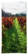 Autumn Vineyard In The Morning  Bath Towel
