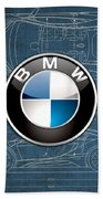 B M W 3 D Badge Over B M W I8 Blueprint  Bath Towel