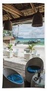 Beach Bar In Sok San Area Of Koh Rong Island Cambodia Bath Towel