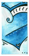 Beautiful Original Acrylic Heart Painting From The Pop Of Love Collection By Madart Bath Towel