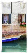 Beautiful View Of Water Street And Old Buildings In Venice, Ital Bath Towel