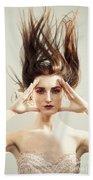 Beautiful Woman With Windswept Hair Bath Towel