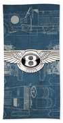 Bentley - 3 D Badge Over 1930 Bentley 4.5 Liter Blower Vintage Blueprint Bath Towel
