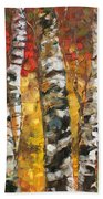 Birch Trees In Golden Fall Bath Towel