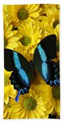 Black And Blue Butterfly Bath Towel