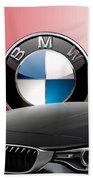Black B M W - Front Grill Ornament And 3 D Badge On Red Hand Towel