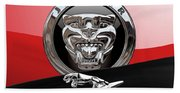 Black Jaguar - Hood Ornaments And 3 D Badge On Red Bath Towel