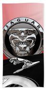 Black Jaguar - Hood Ornaments And 3 D Badge On Red Hand Towel