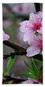 Blossoming Peach Flowers Closeup Bath Towel