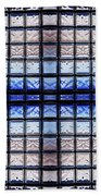 Blue Toned Glass Brick Window Abstract  Bath Towel