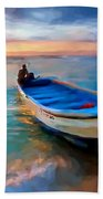 Boat On Beach Bath Towel