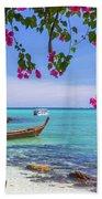 Boats, The Andaman Sea And Hills In Ko Phi Phi Don, Thailand Bath Towel