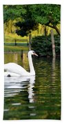 Boston Public Garden Swan Green Reflection Bath Towel