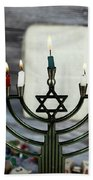 Brightly Glowing Hanukkah Menorah - Shallow Depth Of Field Bath Towel