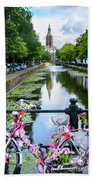 Canal And Decorated Bike In The Hague Bath Towel