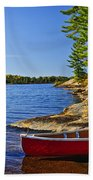 Canoe On Shore Bath Towel