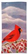 Cardinal Christmas Bath Towel