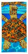 Caribbean Hawksbill Sea Turtle Bath Towel