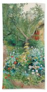Carl Larsson, Garden Scene From Marstrand On The West Coast Of Sweden. Bath Towel