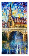 Castle By The River - Palette Knife Oil Painting On Canvas By Leonid Afremov Bath Towel