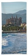 Cathedral And City Beach With People  Bath Towel