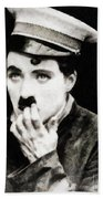 Charlie Chaplin, Vintage Actor And Comedian Bath Towel
