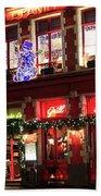 Christmas Decorations On The Buildings, Bruges City Bath Towel