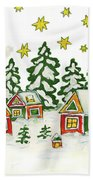Christmas Picture In Green And Yellow Colours Bath Towel