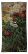 Chrysanthemums In The Garden At Petit-gennevilliers Bath Towel
