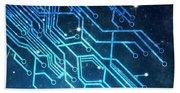 Circuit Board Technology Bath Towel