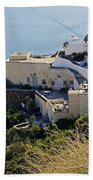 Cliff Perched Houses In The Town Of Oia On The Greek Island Of Santorini Greece Bath Towel