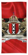 Coat Of Arms Of Amsterdam Over Flag Of Amsterdam Hand Towel