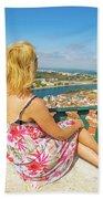 Coimbra Cityscape Woman Bath Towel